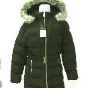 Womens Sherpa-Lined Puffer Coat w/ Detachable Hood